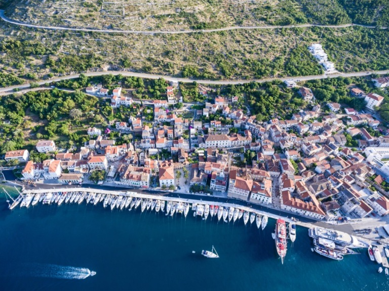 Drone flying in Vis, Croatia